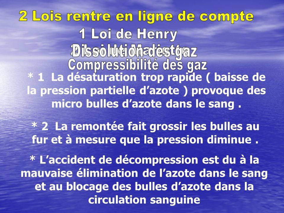 * 1 La désaturation trop rapide ( baisse de la pression partielle dazote ) provoque des micro bulles dazote dans le sang.