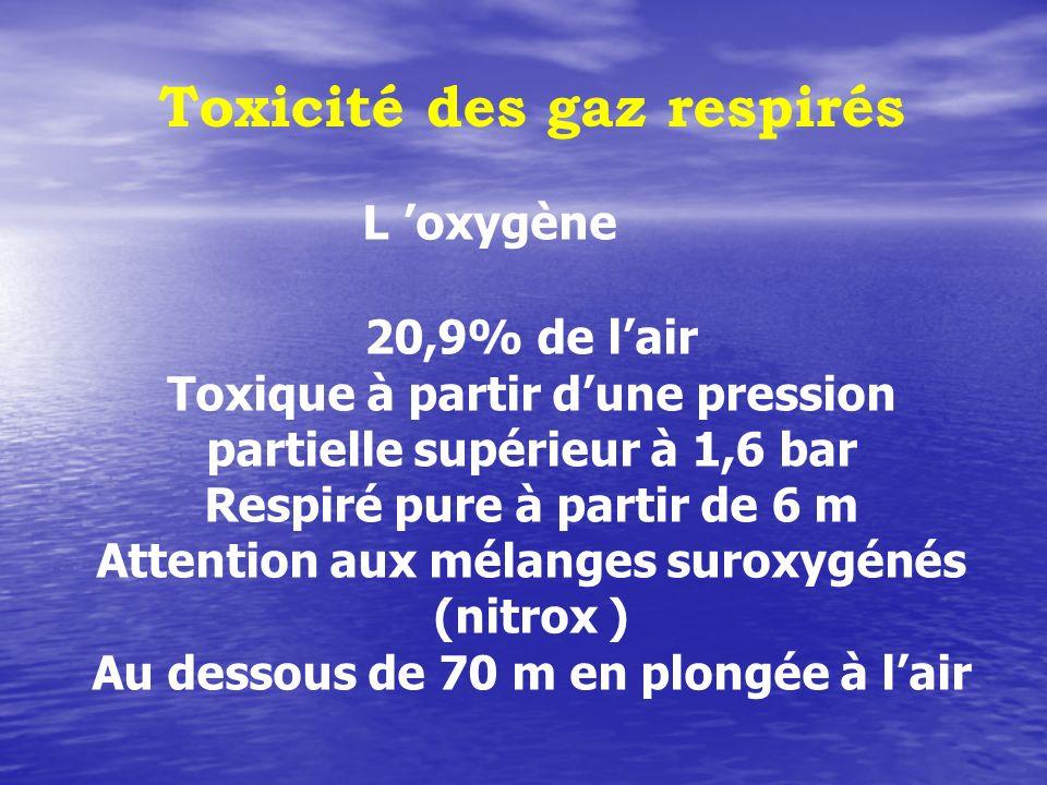 Toxicité des gaz respirés L oxygène 20,9% de lair Toxique à partir dune pression partielle supérieur à 1,6 bar Respiré pure à partir de 6 m Attention aux mélanges suroxygénés (nitrox ) Au dessous de 70 m en plongée à lair