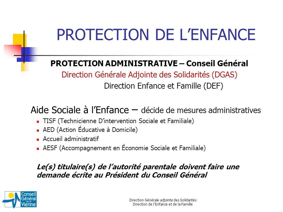 Direction Générale adjointe des Solidarités Direction de lEnfance et de la Famille PROTECTION DE LENFANCE PROTECTION ADMINISTRATIVE – Conseil Général