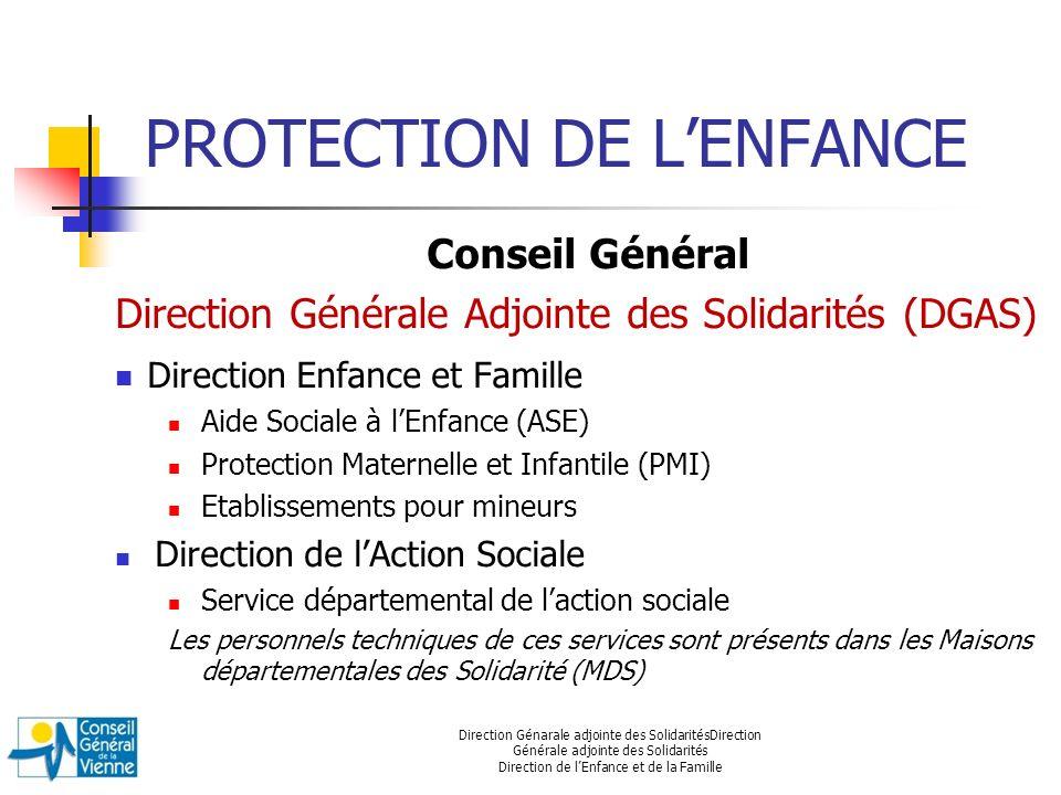 PROTECTION DE LENFANCE Conseil Général Direction Générale Adjointe des Solidarités (DGAS) Direction Enfance et Famille Aide Sociale à lEnfance (ASE) P