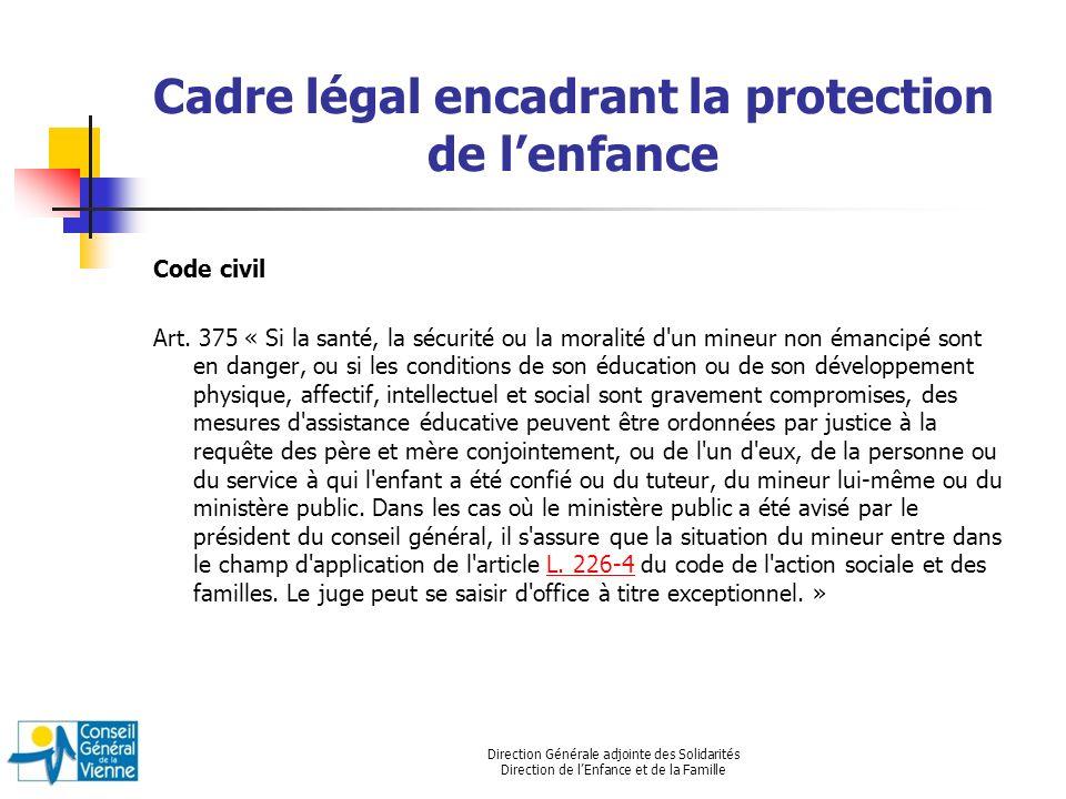 Direction Générale adjointe des Solidarités Direction de lEnfance et de la Famille Cadre légal encadrant la protection de lenfance Code civil Art. 375