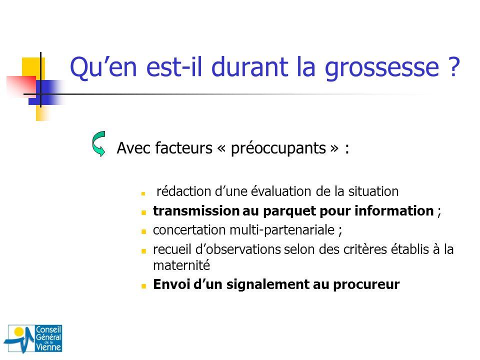 Avec facteurs « préoccupants » : rédaction dune évaluation de la situation transmission au parquet pour information ; concertation multi-partenariale