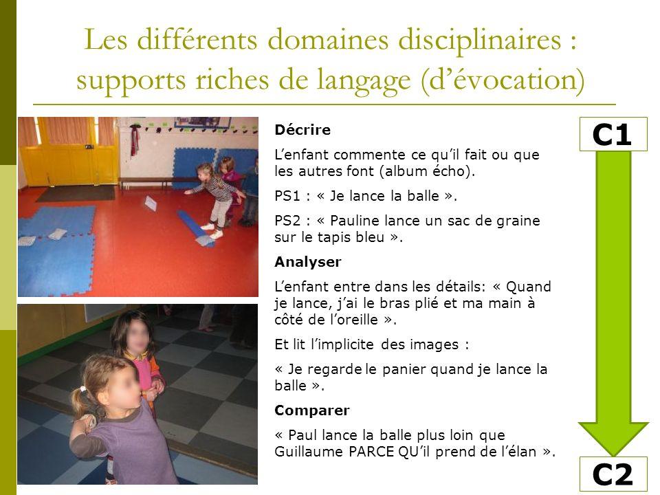 Les différents domaines disciplinaires : supports riches de langage (dévocation) Décrire Lenfant commente ce quil fait ou que les autres font (album écho).