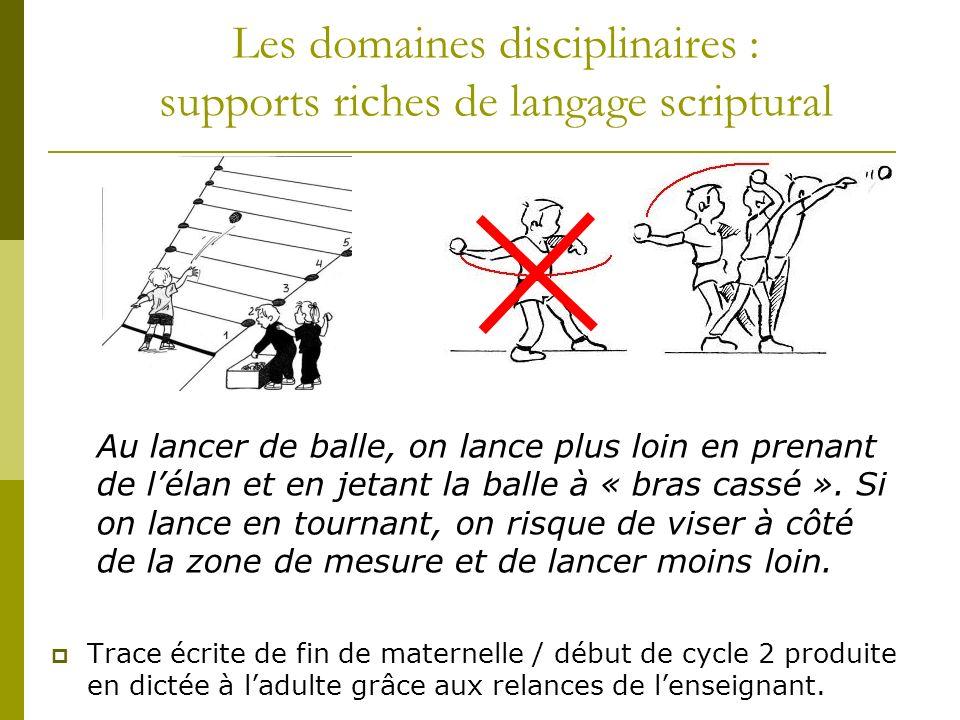 Les domaines disciplinaires : supports riches de langage scriptural Trace écrite de fin de maternelle / début de cycle 2 produite en dictée à ladulte