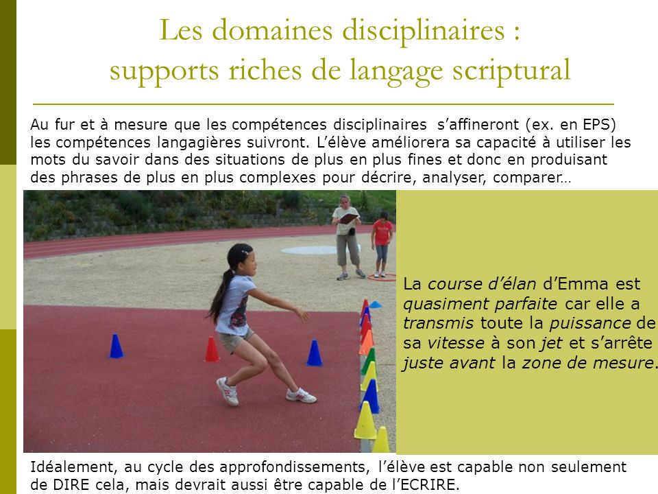 Les domaines disciplinaires : supports riches de langage scriptural Au fur et à mesure que les compétences disciplinaires saffineront (ex.