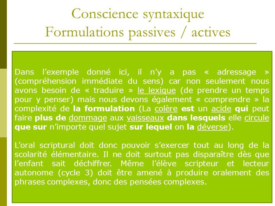 Conscience syntaxique Formulations passives / actives A linstar du vocabulaire qui ne peut être considéré acquis que lorsquil est actif, on est sûr qu