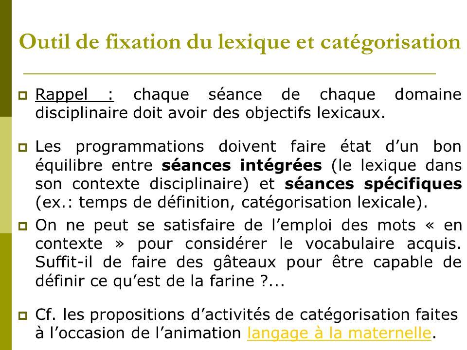 Outil de fixation du lexique et catégorisation Rappel : chaque séance de chaque domaine disciplinaire doit avoir des objectifs lexicaux. Les programma