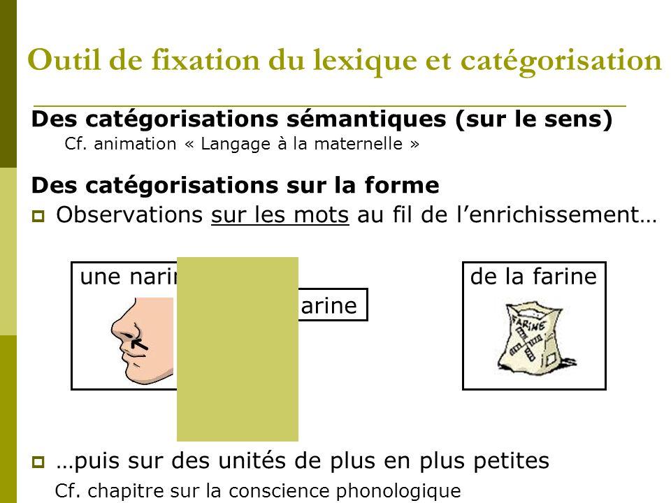 Outil de fixation du lexique et catégorisation Des catégorisations sémantiques (sur le sens) Cf. animation « Langage à la maternelle » Des catégorisat