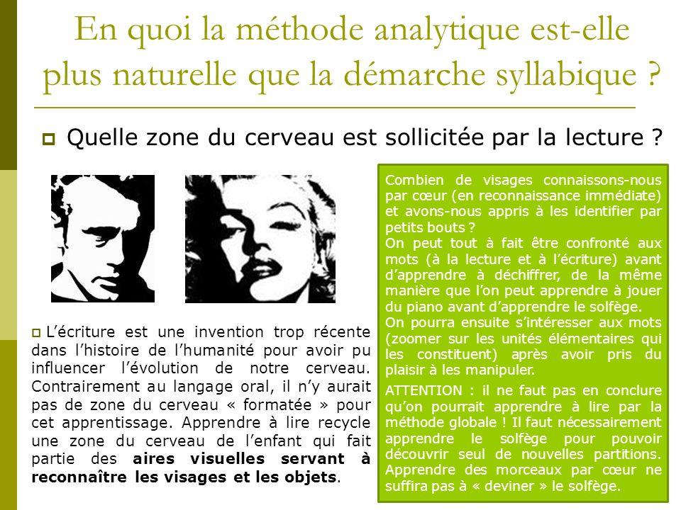 En quoi la méthode analytique est-elle plus naturelle que la démarche syllabique ? Quelle zone du cerveau est sollicitée par la lecture ? Lécriture es