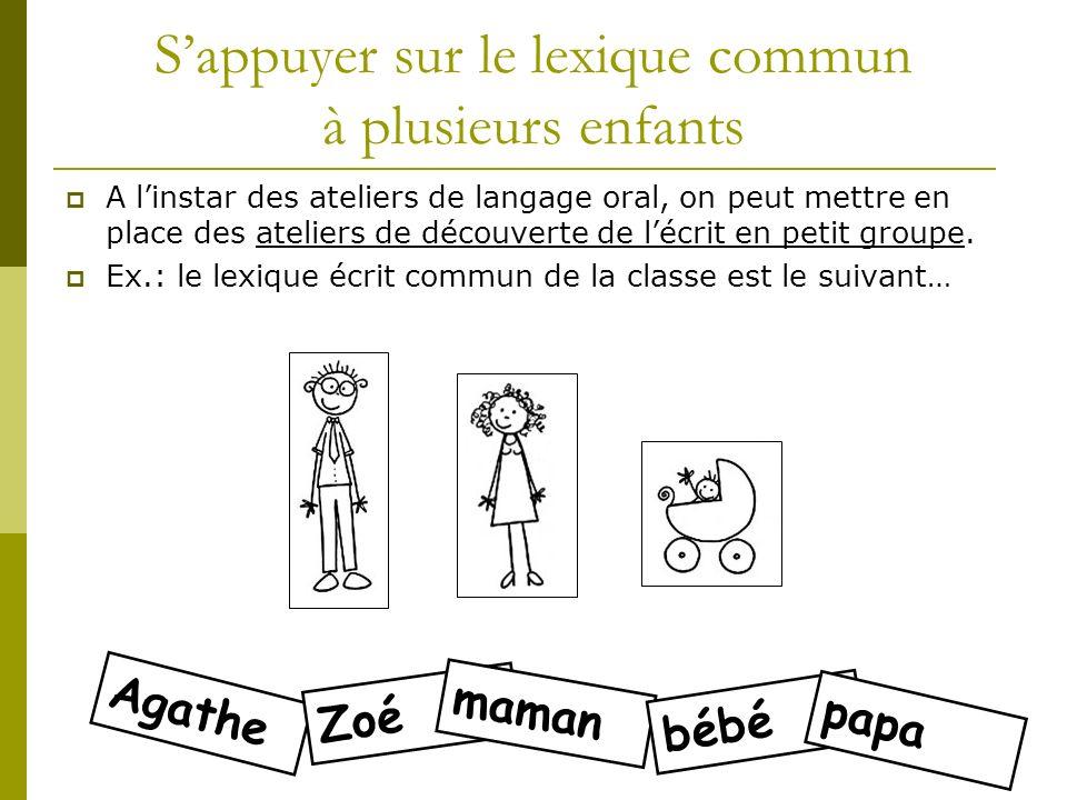 Agathe Zoé Sappuyer sur le lexique commun à plusieurs enfants A linstar des ateliers de langage oral, on peut mettre en place des ateliers de découver