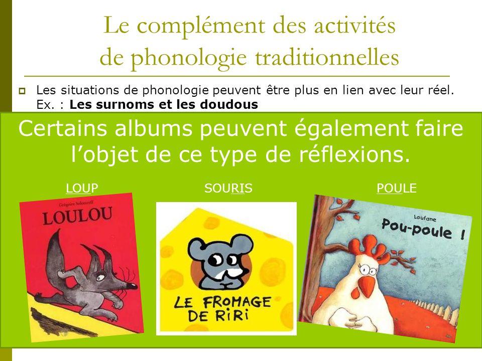Le complément des activités de phonologie traditionnelles Les situations de phonologie peuvent être plus en lien avec leur réel. Ex. : Les surnoms et