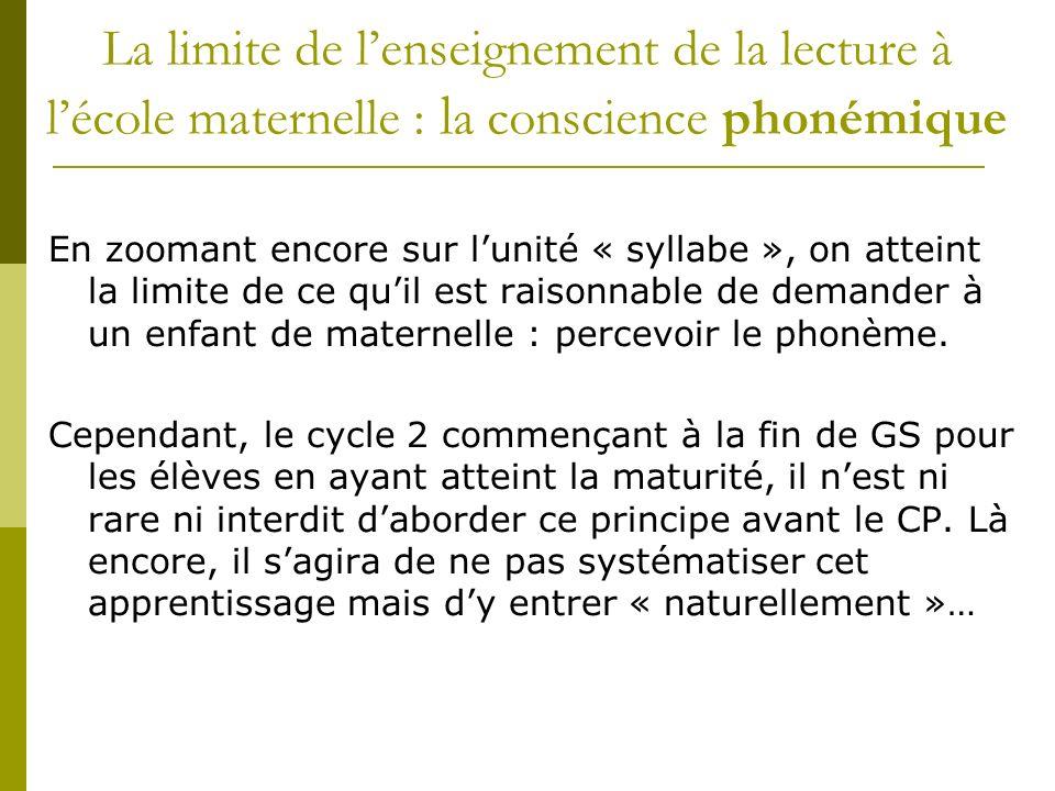 La limite de lenseignement de la lecture à lécole maternelle : l a conscience phonémique En zoomant encore sur lunité « syllabe », on atteint la limit