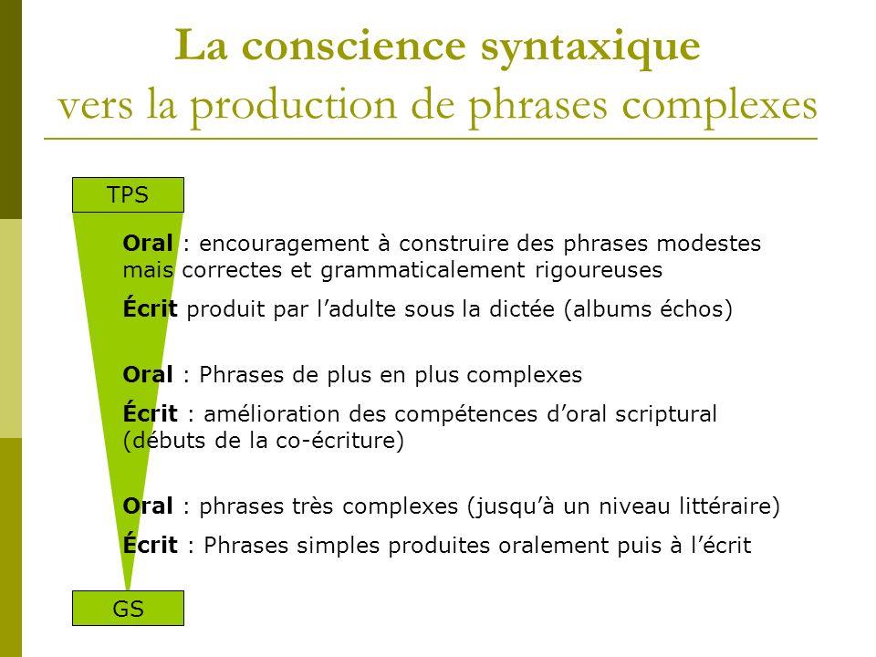 La conscience syntaxique vers la production de phrases complexes Oral : encouragement à construire des phrases modestes mais correctes et grammaticale
