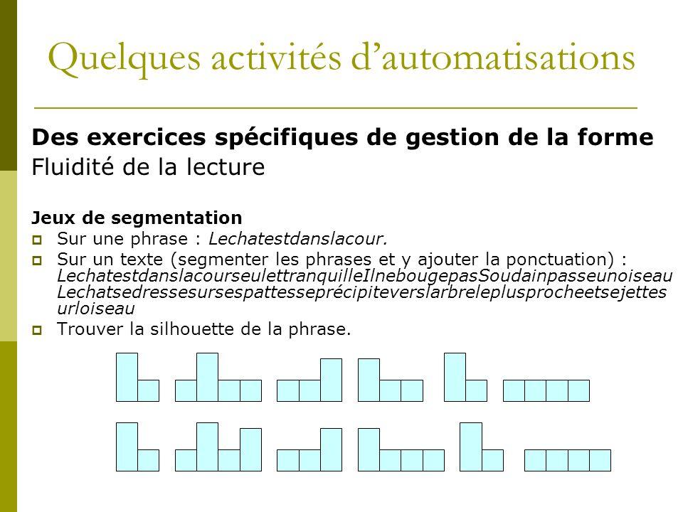 Des exercices spécifiques de gestion de la forme Fluidité de la lecture Jeux de segmentation Sur une phrase : Lechatestdanslacour. Sur un texte (segme