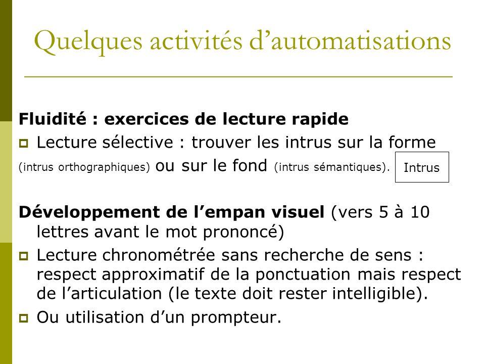 Fluidité : exercices de lecture rapide Lecture sélective : trouver les intrus sur la forme (intrus orthographiques) ou sur le fond (intrus sémantiques).