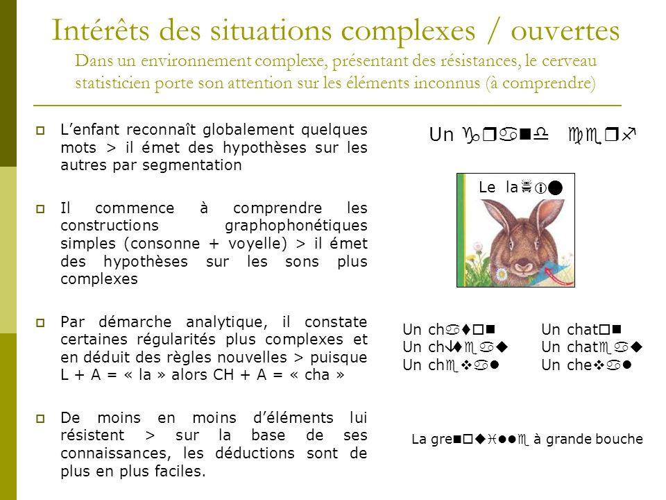 Intérêts des situations complexes / ouvertes Dans un environnement complexe, présentant des résistances, le cerveau statisticien porte son attention sur les éléments inconnus (à comprendre) Lenfant reconnaît globalement quelques mots > il émet des hypothèses sur les autres par segmentation Il commence à comprendre les constructions graphophonétiques simples (consonne + voyelle) > il émet des hypothèses sur les sons plus complexes Par démarche analytique, il constate certaines régularités plus complexes et en déduit des règles nouvelles > puisque L + A = « la » alors CH + A = « cha » De moins en moins déléments lui résistent > sur la base de ses connaissances, les déductions sont de plus en plus faciles.