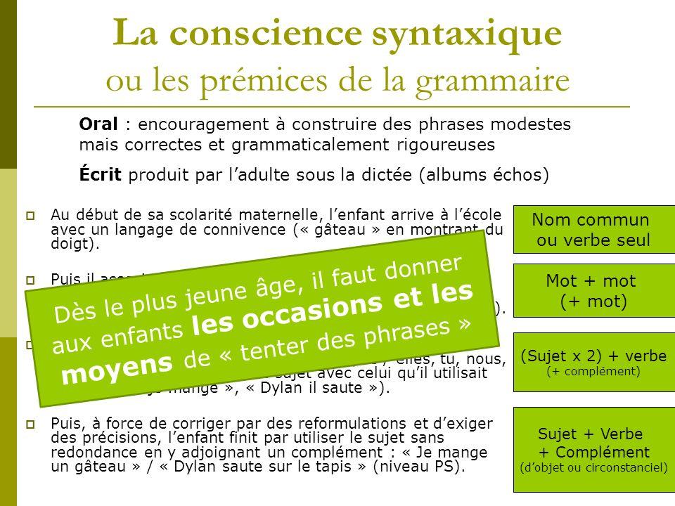 La conscience syntaxique ou les prémices de la grammaire Au début de sa scolarité maternelle, lenfant arrive à lécole avec un langage de connivence (« gâteau » en montrant du doigt).