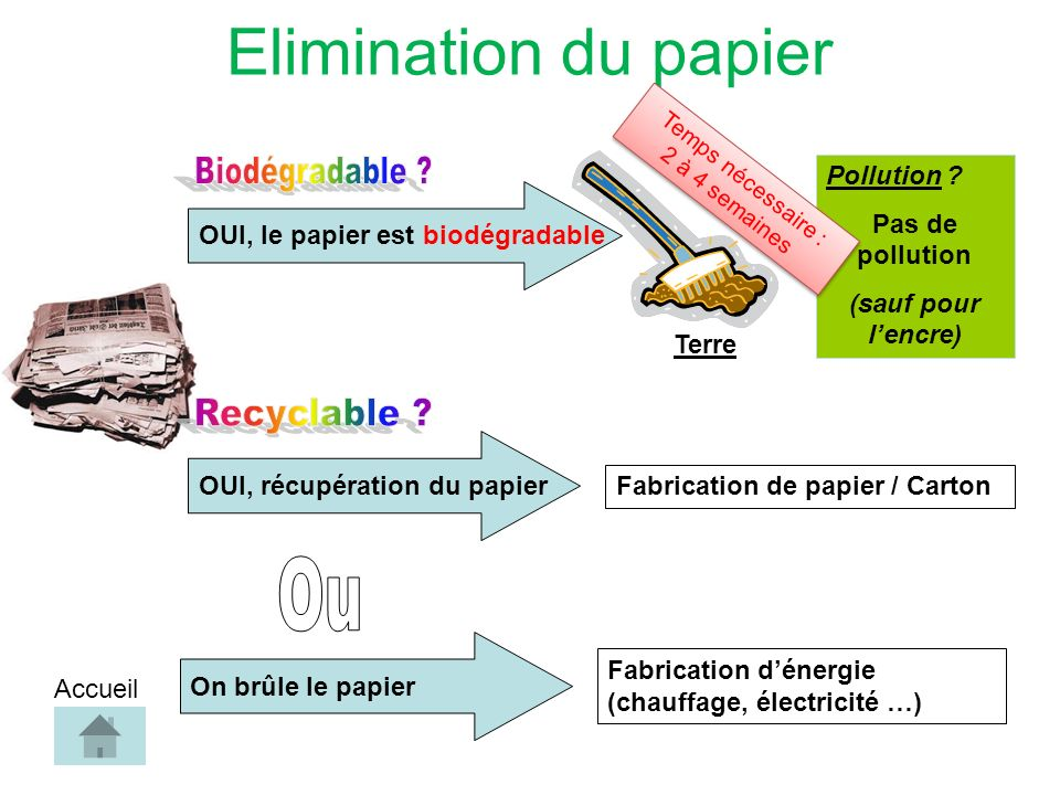 OUI, le papier est biodégradableOUI, récupération du papier Pollution .