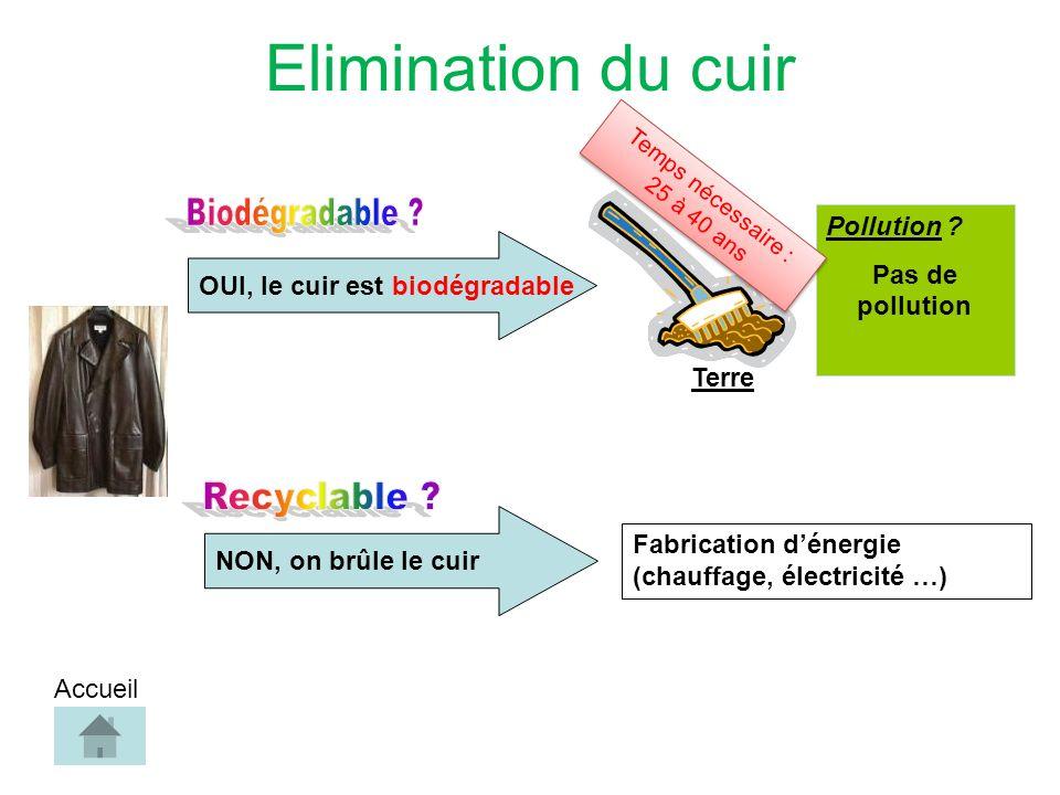 OUI, le cuir est biodégradable Pollution .