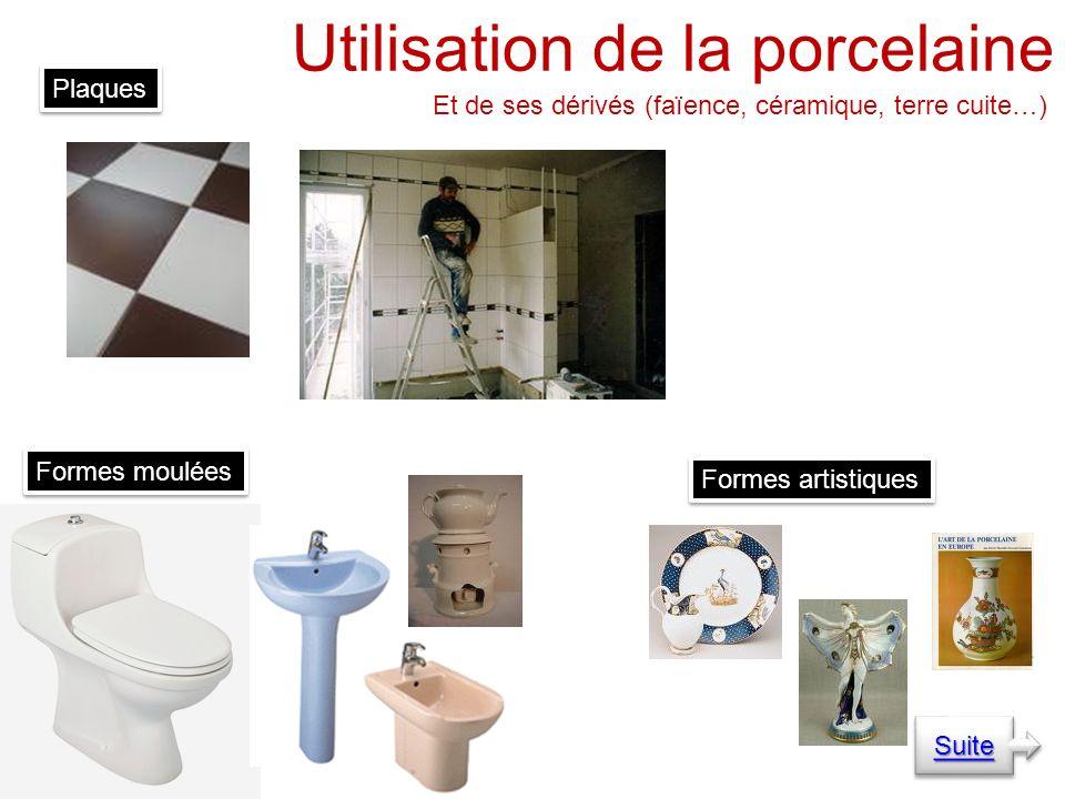 Utilisation de la porcelaine Et de ses dérivés (faïence, céramique, terre cuite…) Plaques Formes moulées Formes artistiques Suite