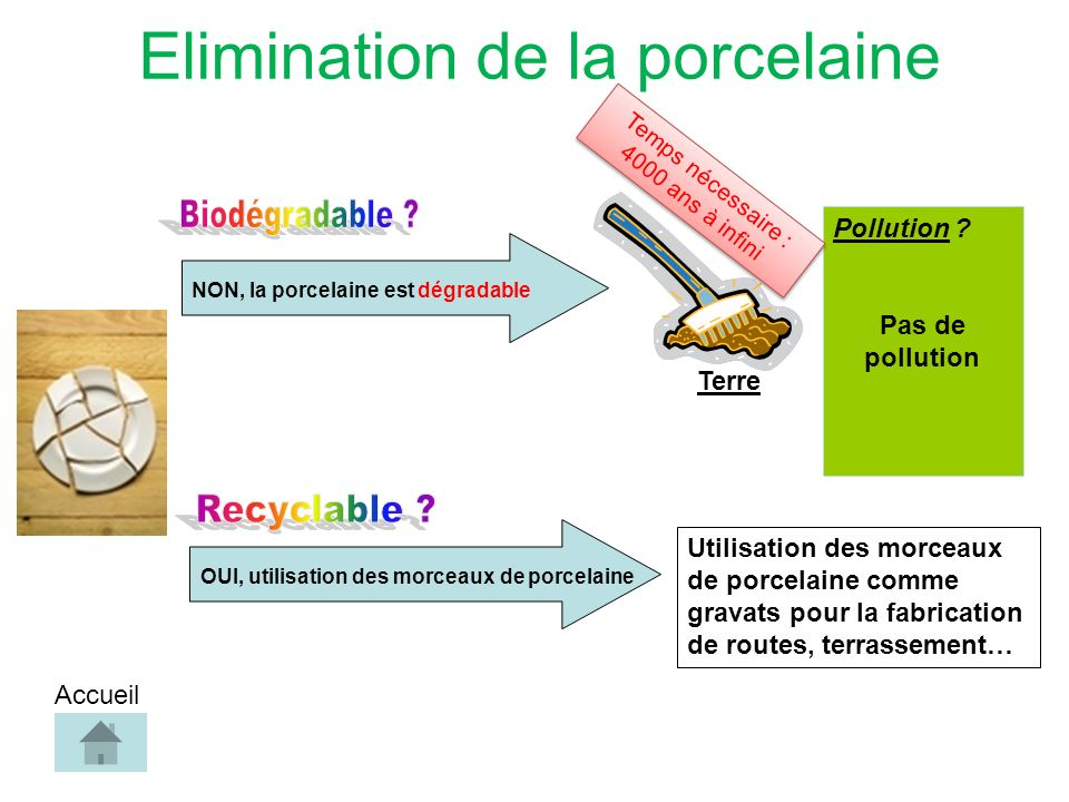 Elimination de la porcelaine NON, la porcelaine est dégradable Pollution .
