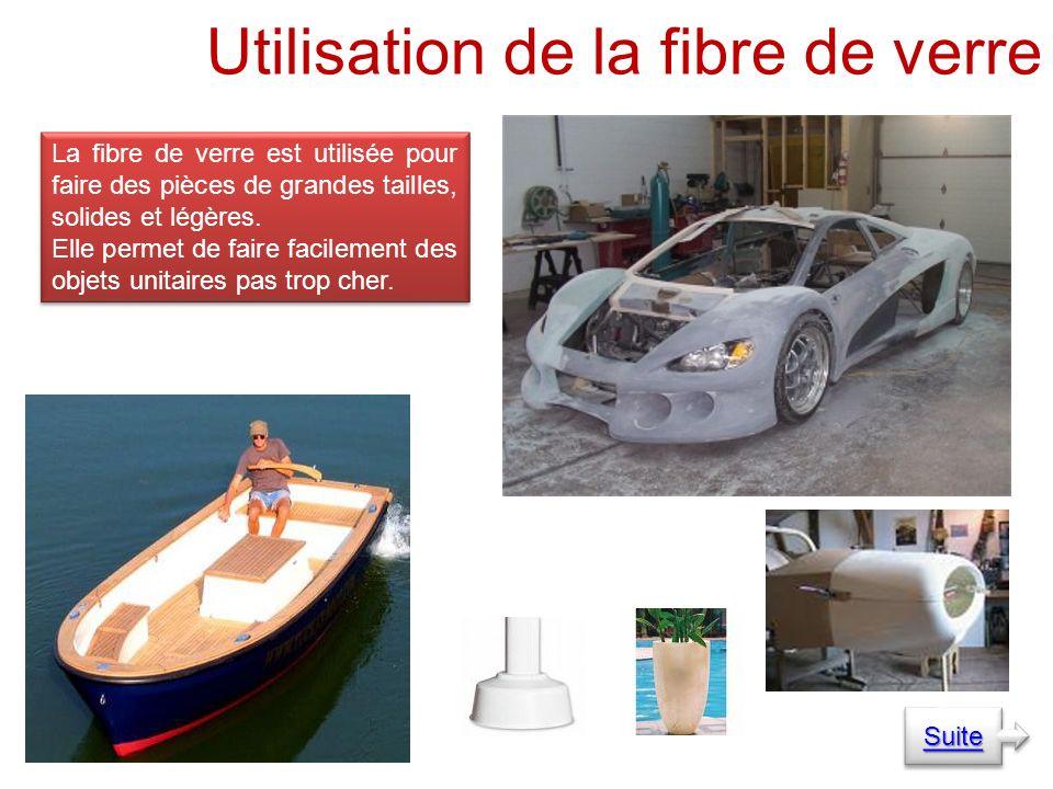 Utilisation de la fibre de verre La fibre de verre est utilisée pour faire des pièces de grandes tailles, solides et légères.
