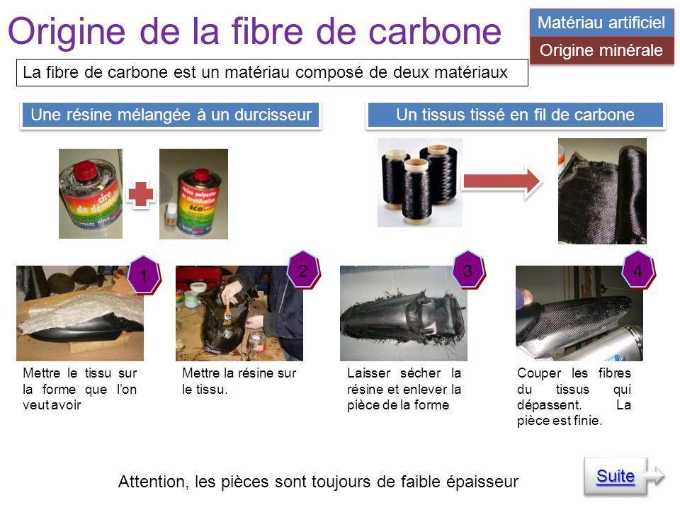 Origine de la fibre de carbone La fibre de carbone est un matériau composé de deux matériaux Une résine mélangée à un durcisseur Un tissus tissé en fil de carbone 1 1 Mettre le tissu sur la forme que lon veut avoir 2 2 Mettre la résine sur le tissu.