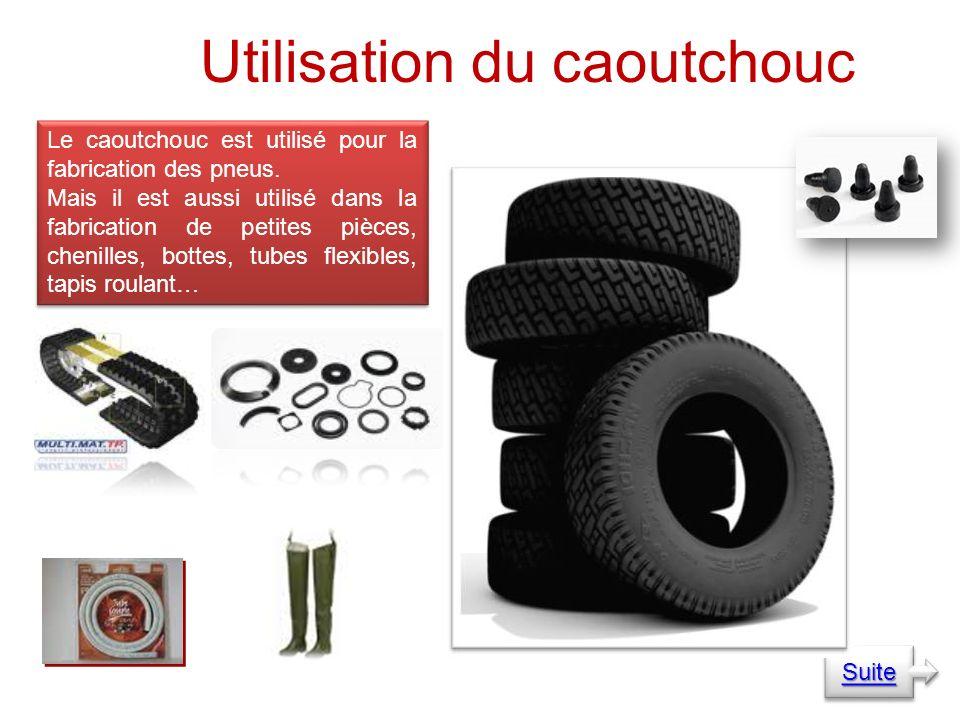 Utilisation du caoutchouc Le caoutchouc est utilisé pour la fabrication des pneus.