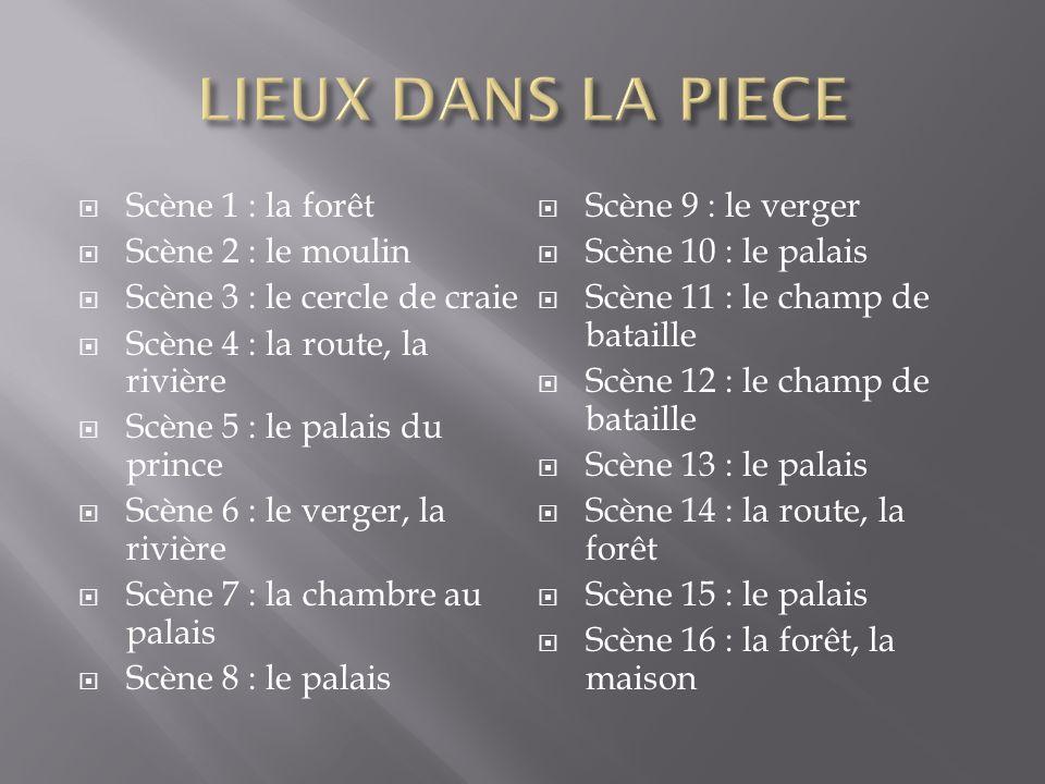 Scène 1 : la forêt Scène 2 : le moulin Scène 3 : le cercle de craie Scène 4 : la route, la rivière Scène 5 : le palais du prince Scène 6 : le verger, la rivière Scène 7 : la chambre au palais Scène 8 : le palais Scène 9 : le verger Scène 10 : le palais Scène 11 : le champ de bataille Scène 12 : le champ de bataille Scène 13 : le palais Scène 14 : la route, la forêt Scène 15 : le palais Scène 16 : la forêt, la maison