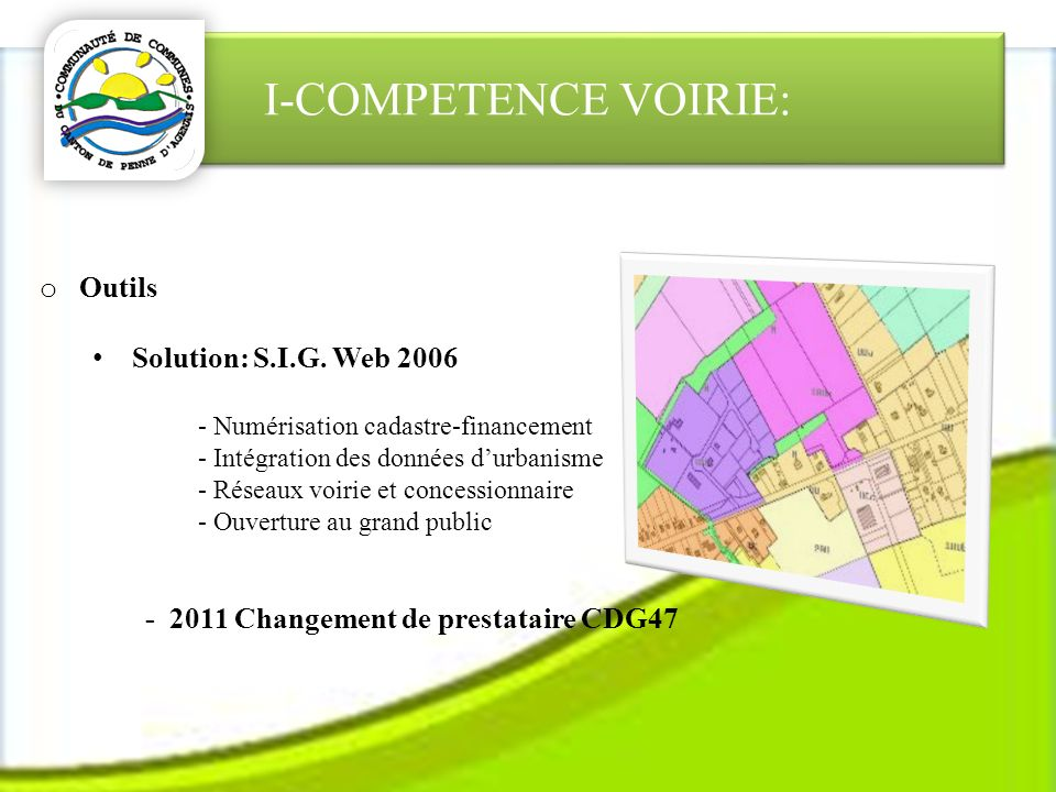I-COMPETENCE VOIRIE: o Outils Solution: S.I.G.
