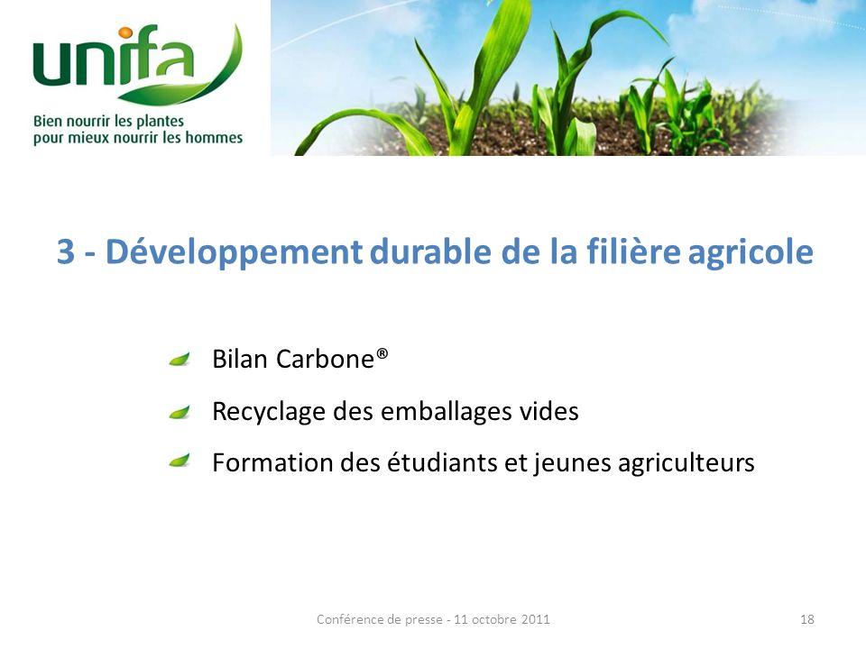 3 - Développement durable de la filière agricole Bilan Carbone® Recyclage des emballages vides Formation des étudiants et jeunes agriculteurs 18Confér