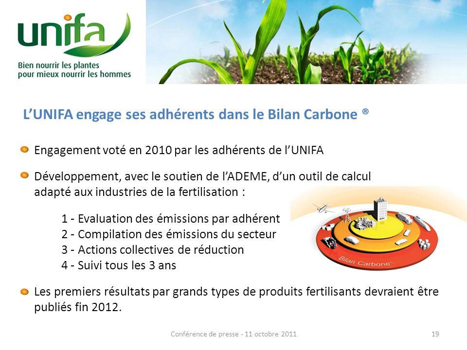 LUNIFA engage ses adhérents dans le Bilan Carbone ® Engagement voté en 2010 par les adhérents de lUNIFA Développement, avec le soutien de lADEME, dun