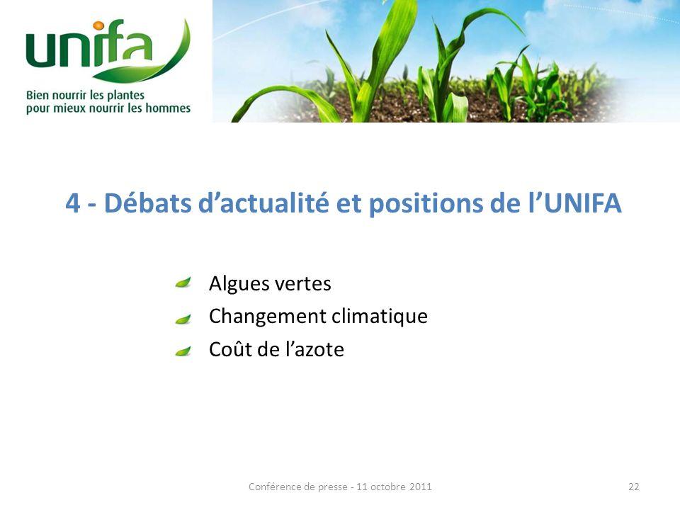 4 - Débats dactualité et positions de lUNIFA Algues vertes Changement climatique Coût de lazote 22Conférence de presse - 11 octobre 2011