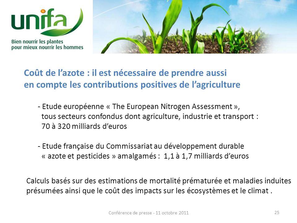Coût de lazote : il est nécessaire de prendre aussi en compte les contributions positives de lagriculture - Etude européenne « The European Nitrogen A