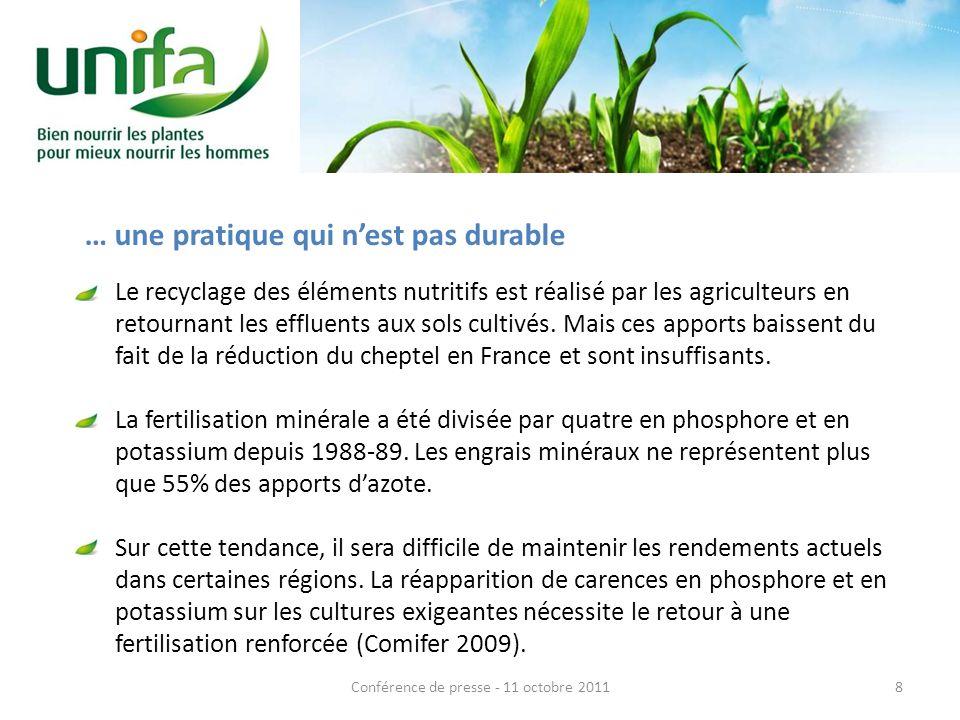 Le recyclage des éléments nutritifs est réalisé par les agriculteurs en retournant les effluents aux sols cultivés.