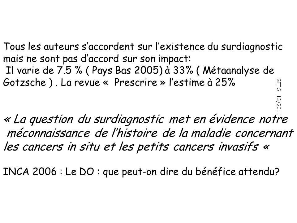 SFTG 12/2011 Tous les auteurs saccordent sur lexistence du surdiagnostic mais ne sont pas daccord sur son impact: Il varie de 7.5 % ( Pays Bas 2005) à