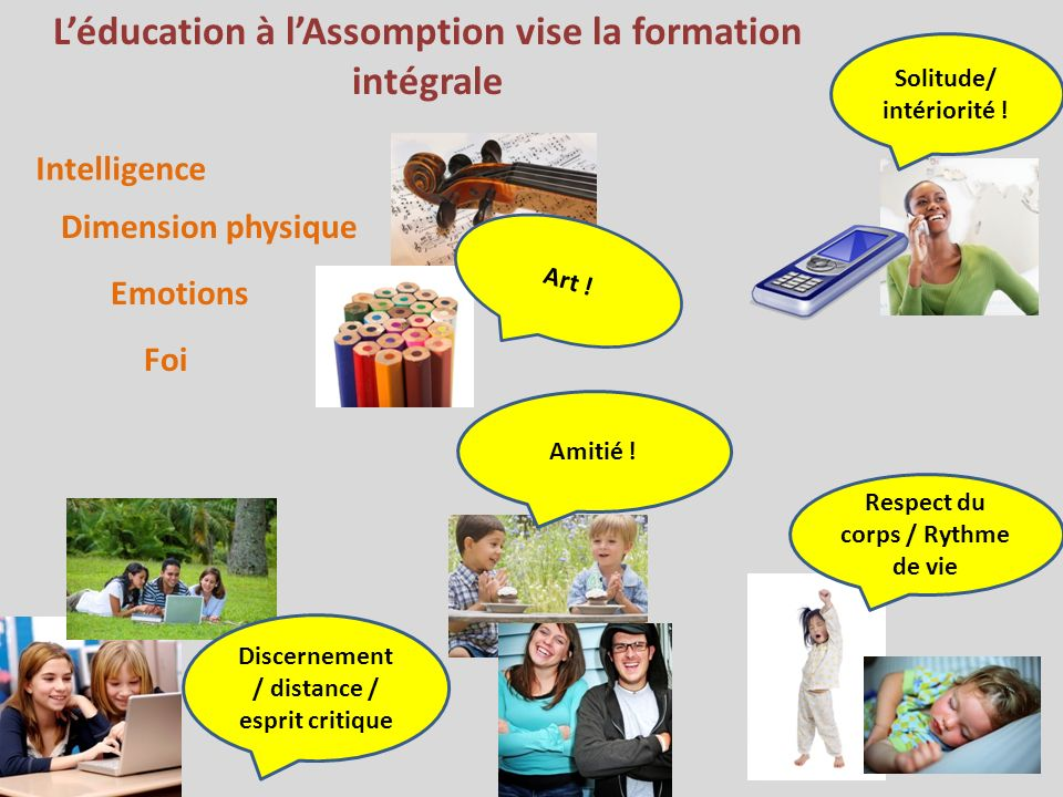 Léducation à lAssomption vise la formation intégrale Intelligence Dimension physique Emotions Foi Solitude/ intériorité ! Discernement / distance / es