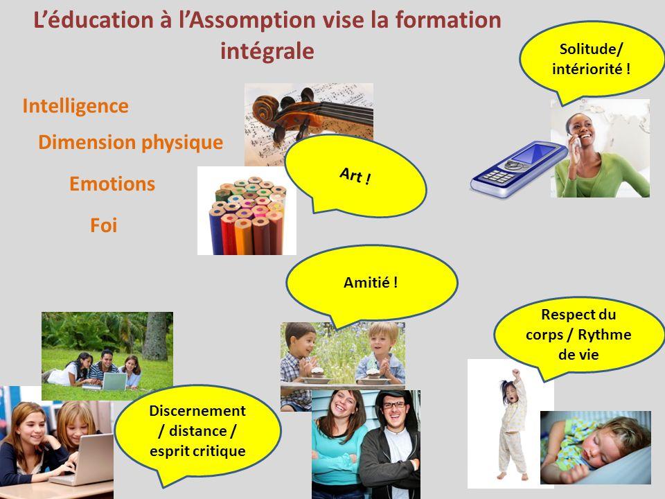 Léducation à lAssomption vise la formation intégrale Intelligence Dimension physique Emotions Foi Solitude/ intériorité .