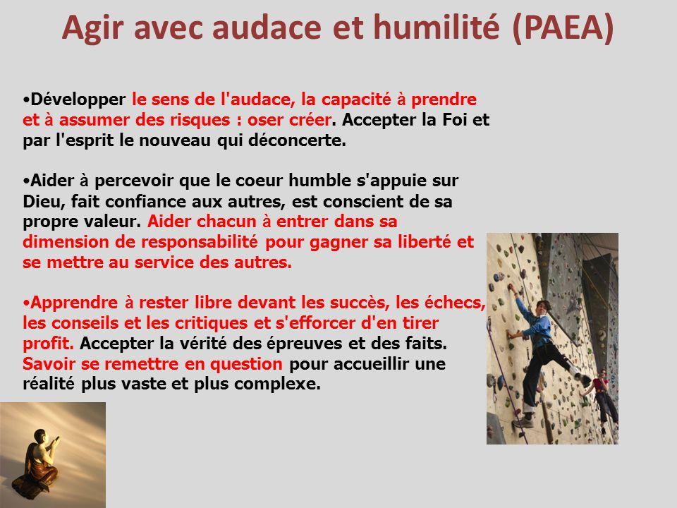 Agir avec audace et humilité (PAEA) D é velopper le sens de l'audace, la capacit é à prendre et à assumer des risques : oser cr é er. Accepter la Foi