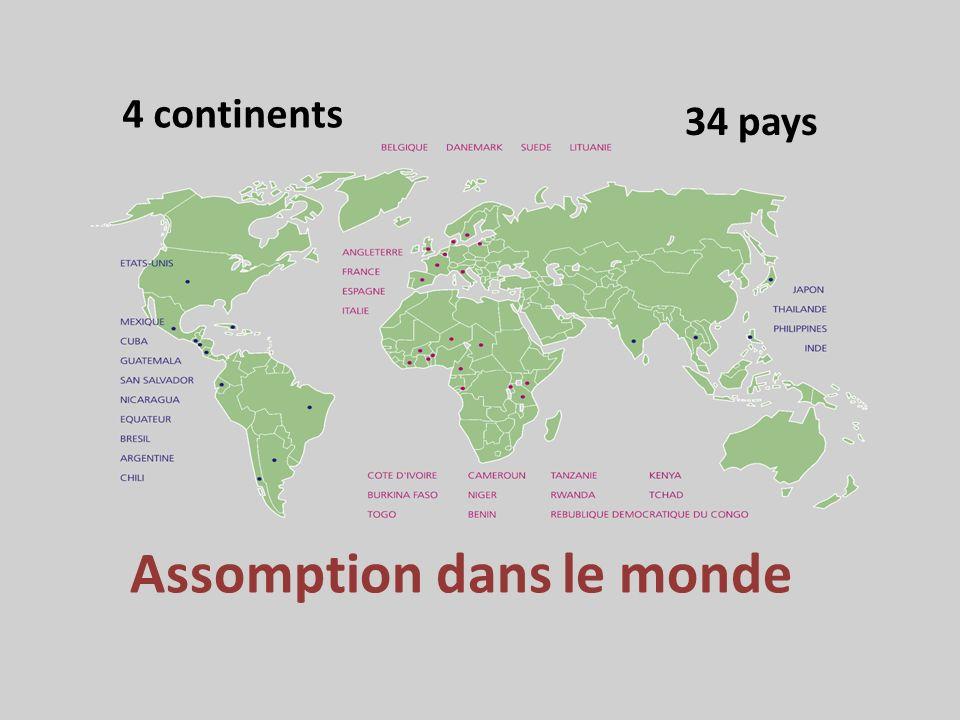 Assomption dans le monde 4 continents 34 pays
