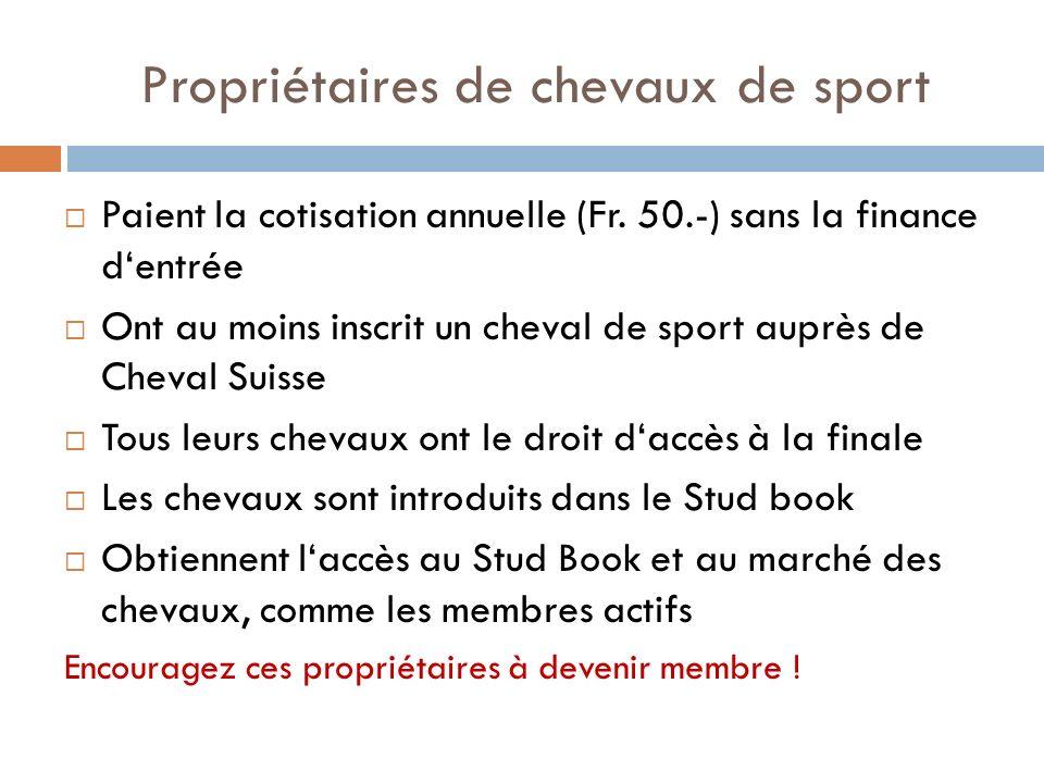 Propriétaires de chevaux de sport Paient la cotisation annuelle (Fr. 50.-) sans la finance dentrée Ont au moins inscrit un cheval de sport auprès de C