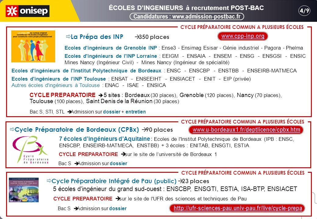 Candidatures : www.admission-postbac.fr 4/9 ÉCOLES DINGENIEURS à recrutement POST-BAC Ecoles d ingénieurs de Grenoble INP : Ense3 - Ensimag Esisar - Génie industriel - Pagora - Phelma Ecoles d ingénieurs de l INP Lorraine : EEIGM - ENSAIA - ENSEM - ENSG - ENSGSI - ENSIC Mines Nancy (Ingénieur Civil) - Mines Nancy (Ingénieur de spécialité) Ecoles d ingénieurs de l Institut Polytechnique de Bordeaux : ENSC - ENSCBP - ENSTBB - ENSEIRB-MATMECA Ecoles d ingénieurs de l INP Toulouse : ENSAT - ENSEEIHT - ENSIACET - ENIT - EIP (privée) Autres écoles d ingénieurs à Toulouse : ENAC - ISAE - ENSICA La Prépa des INP 350 places CYCLE PREPARATOIRE 5 sites : Bordeaux (30 places), Grenoble (120 places), Nancy (70 places), Toulouse (100 places), Saint Denis de la Réunion (30 places) CYCLE PRÉPARATOIRE COMMUN A PLUSIEURS ÉCOLES www.cpp-inp.org Bac S, STI, STL Admission sur dossier + entretien 7 écoles dingénieurs dAquitaine : Ecoles de l Institut Polytechnique de Bordeaux (IPB : ENSC, ENSCBP, ENSEIRB-MATMECA, ENSTBB) + 3 écoles : ENITAB, ENSGTI, ESTIA Cycle Préparatoire de Bordeaux (CPBx) 90 places CYCLE PRÉPARATOIRE COMMUN A PLUSIEURS ÉCOLES Bac S Admission sur dossier CYCLE PRÉPARATOIRE COMMUN A PLUSIEURS ÉCOLES CYCLE PREPARATOIRE sur le site de luniversité de Bordeaux 1 www.u-bordeaux1.fr/deptlicence/cpbx.htm 5 écoles d ingénieur du grand sud-ouest : ENSCBP, ENSGTI, ESTIA, ISA-BTP, ENSIACET Cycle Préparatoire Intégré de Pau (public) 23 places http://ufr-sciences-pau.univ-pau.fr/live/cycle-prepa Bac S Admission sur dossier CYCLE PREPARATOIRE sur le site de l UFR des sciences et techniques de Pau