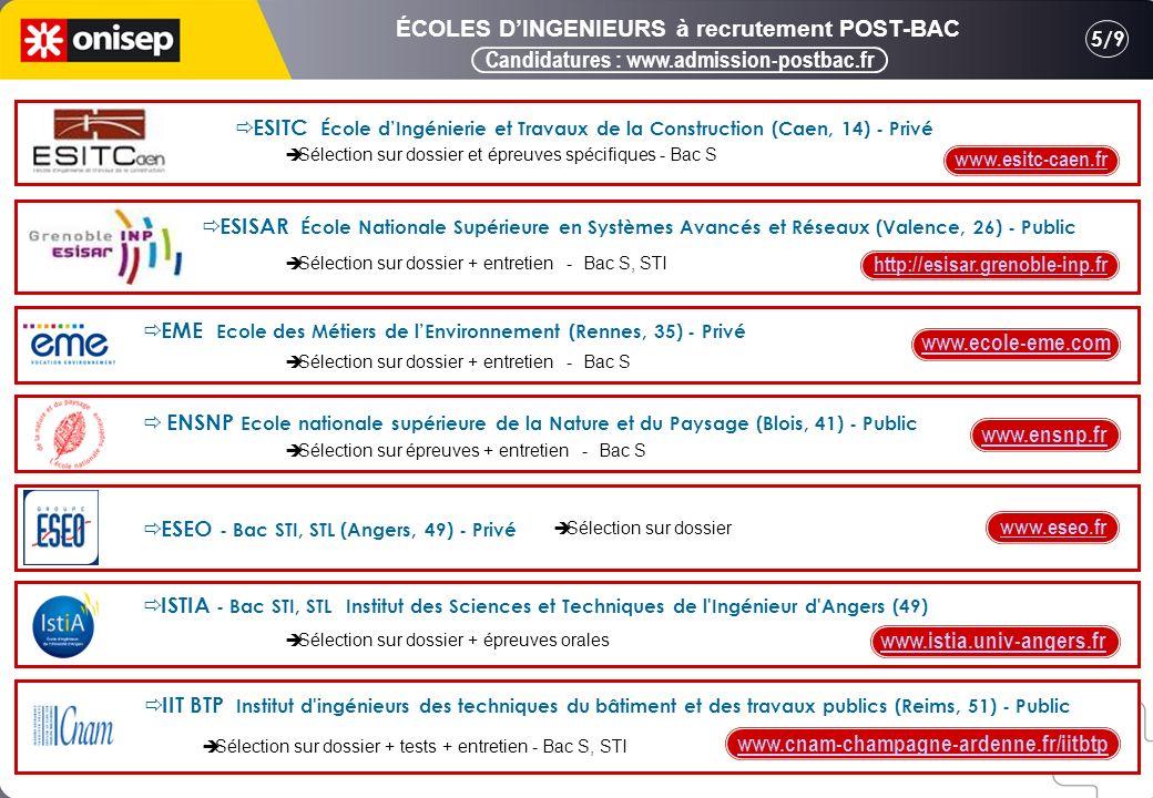 Candidatures : www.admission-postbac.fr 5/9 ÉCOLES DINGENIEURS à recrutement POST-BAC ESITC École dIngénierie et Travaux de la Construction (Caen, 14) - Privé www.esitc-caen.fr Sélection sur dossier et épreuves spécifiques - Bac S ESISAR École Nationale Supérieure en Systèmes Avancés et Réseaux (Valence, 26) - Public http://esisar.grenoble-inp.fr Sélection sur dossier + entretien - Bac S, STI EME Ecole des Métiers de lEnvironnement (Rennes, 35) - Privé www.ecole-eme.com Sélection sur dossier + entretien - Bac S ENSNP Ecole nationale supérieure de la Nature et du Paysage (Blois, 41) - Public www.ensnp.fr Sélection sur épreuves + entretien - Bac S ESEO - Bac STI, STL (Angers, 49) - Privé www.eseo.fr Sélection sur dossier ISTIA - Bac STI, STL Institut des Sciences et Techniques de l Ingénieur d Angers (49) www.istia.univ-angers.fr Sélection sur dossier + tests + entretien - Bac S, STI IIT BTP Institut d ingénieurs des techniques du bâtiment et des travaux publics (Reims, 51) - Public www.cnam-champagne-ardenne.fr/iitbtp Sélection sur dossier + épreuves orales