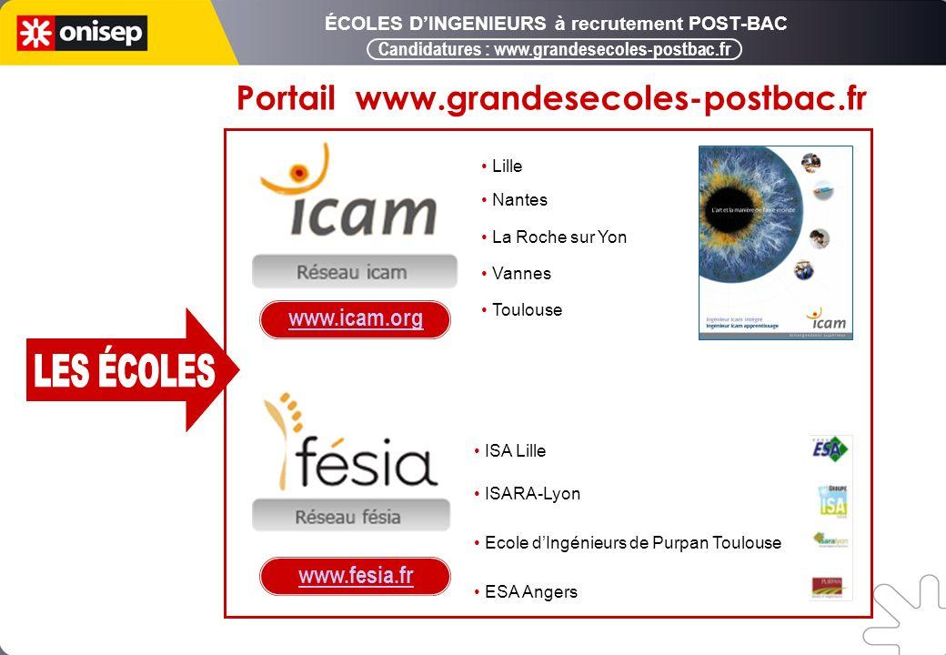 Lille Nantes La Roche sur Yon Vannes Toulouse ISA Lille ISARA-Lyon Ecole dIngénieurs de Purpan Toulouse ESA Angers www.icam.org www.fesia.fr Candidatures : www.grandesecoles-postbac.fr Portail www.grandesecoles-postbac.fr ÉCOLES DINGENIEURS à recrutement POST-BAC