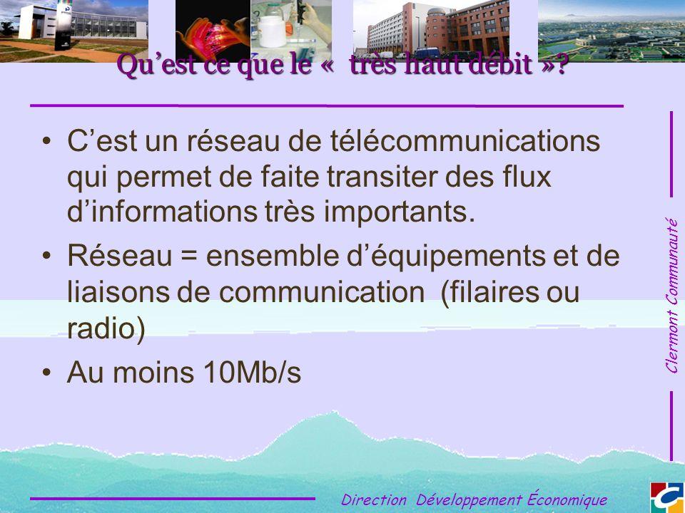 Clermont Communauté Direction Développement Économique Quest ce que le « très haut débit ».