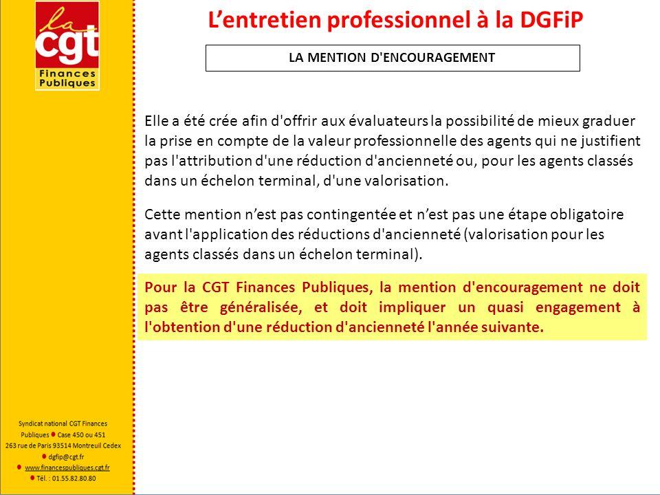 Lentretien professionnel à la DGFiP Une « mention dalerte » peut être utilisée pour matérialiser à lagent un avertissement quand à sa manière de servir.