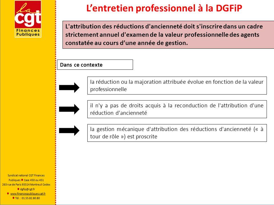 Lentretien professionnel à la DGFiP L'attribution des réductions d'ancienneté doit s'inscrire dans un cadre strictement annuel d'examen de la valeur p