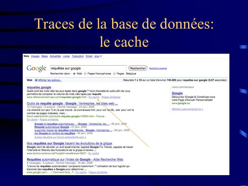 Traces de la base de données: le cache