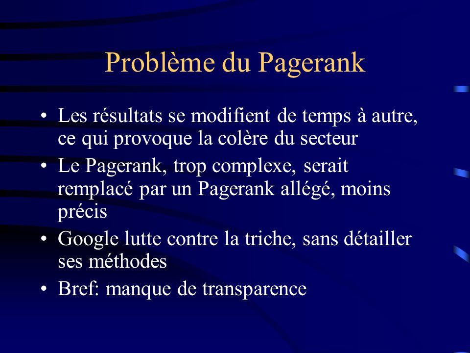 Problème du Pagerank Les résultats se modifient de temps à autre, ce qui provoque la colère du secteur Le Pagerank, trop complexe, serait remplacé par un Pagerank allégé, moins précis Google lutte contre la triche, sans détailler ses méthodes Bref: manque de transparence