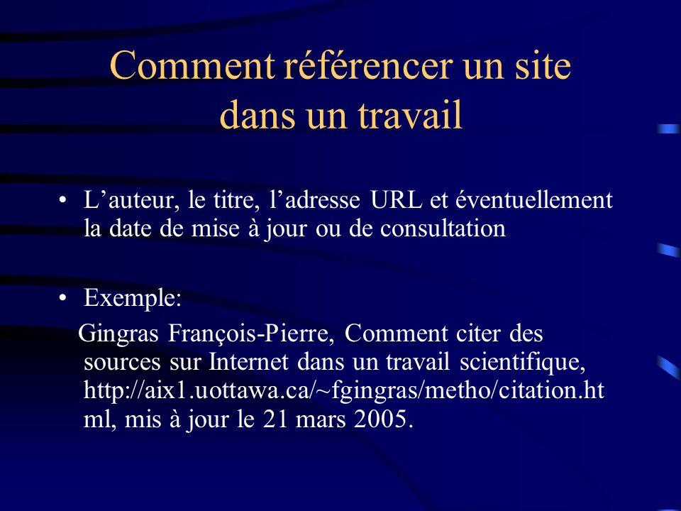 Comment référencer un site dans un travail Lauteur, le titre, ladresse URL et éventuellement la date de mise à jour ou de consultation Exemple: Gingras François-Pierre, Comment citer des sources sur Internet dans un travail scientifique, http://aix1.uottawa.ca/~fgingras/metho/citation.ht ml, mis à jour le 21 mars 2005.